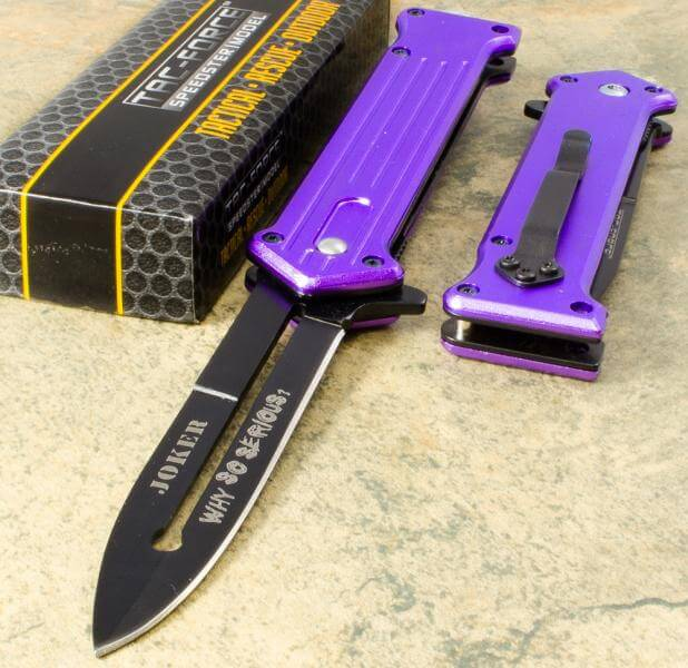 Joker The Dark Knight Spring Knife Purple Knifewarehouse