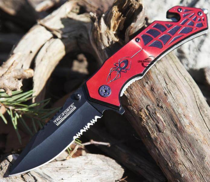 Red Spiderman Spring Assisted Lock Knife Knifewarehouse