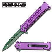 Tac-Force Joker Style Spring Assisted Knife - Purple/green