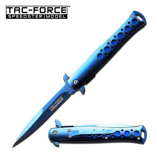 Blue Titanium Stiletto Spring Assisted Knife