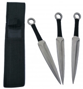 Set of 3 Black Corded Throwing Knives