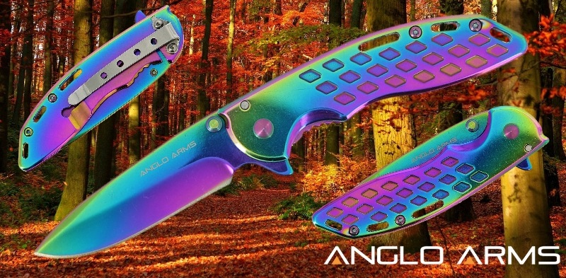 Titanium Coated Rainbow Colour Lock Knife