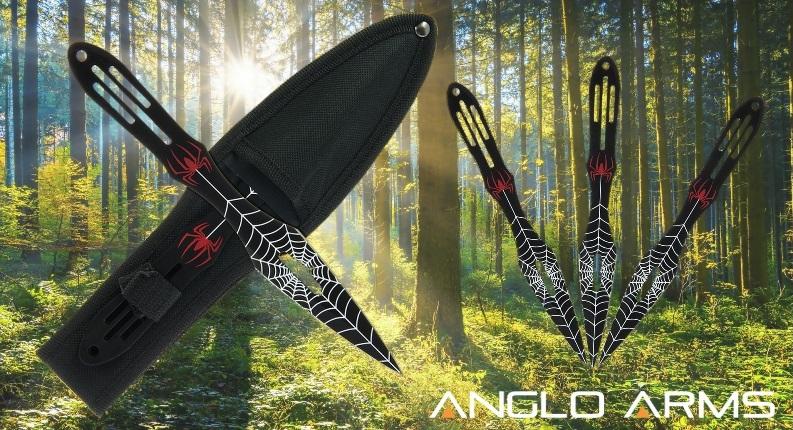 Black Spider Throwing Knife Set