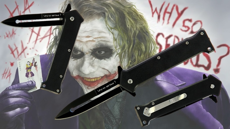 Joker Dark Knight Lock Knife Banner