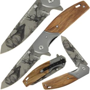 Deer Hunter Zebra Wood Lock Knife